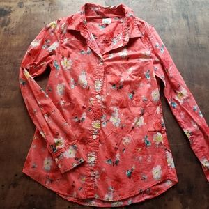 J Crew Perfect button down shirt red floral